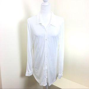 Eileen Fisher White Organic Cotton Button Up Tunic